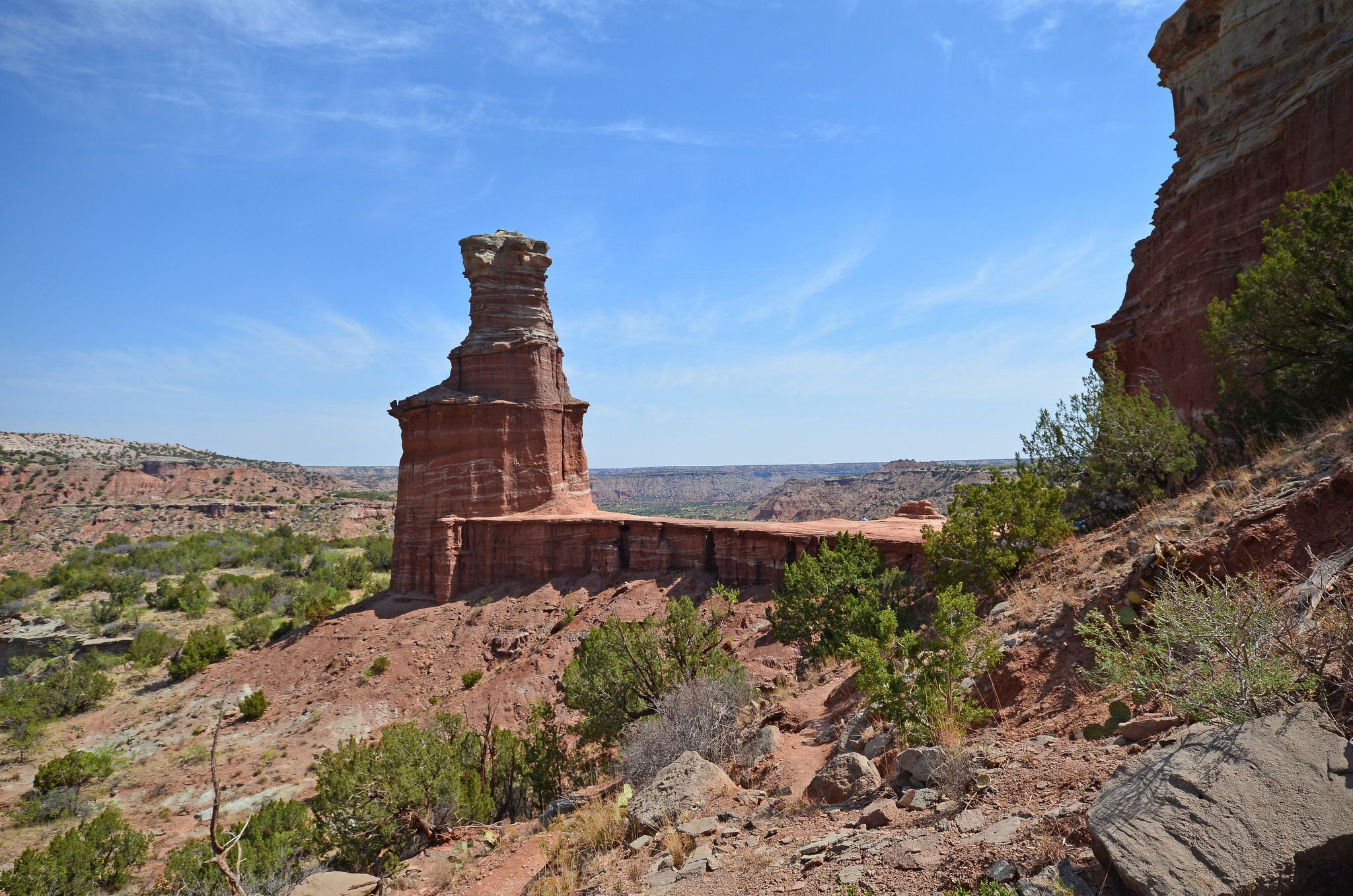 Hoodoos, like the Pillar of Palo Duro, pictured here, were carved out by the Red River millions of years ago. Photo credit Flickr user RichieBpics.